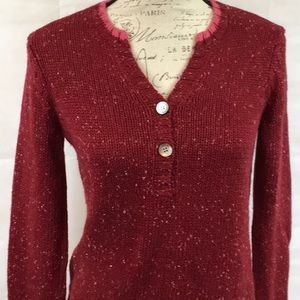 Bass Pullover Sweater Red Pink Buttons Speckled